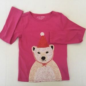 Mini Boden Pink Polar Bear Sequined Shirt Sz 7-8